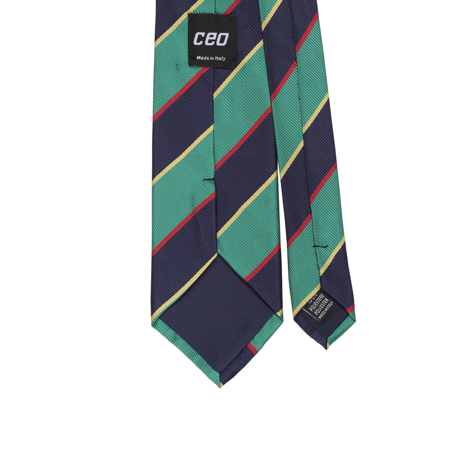 CEO Made In Italy Tie in Green Stripe - Ron Bennett Menswear  - 1
