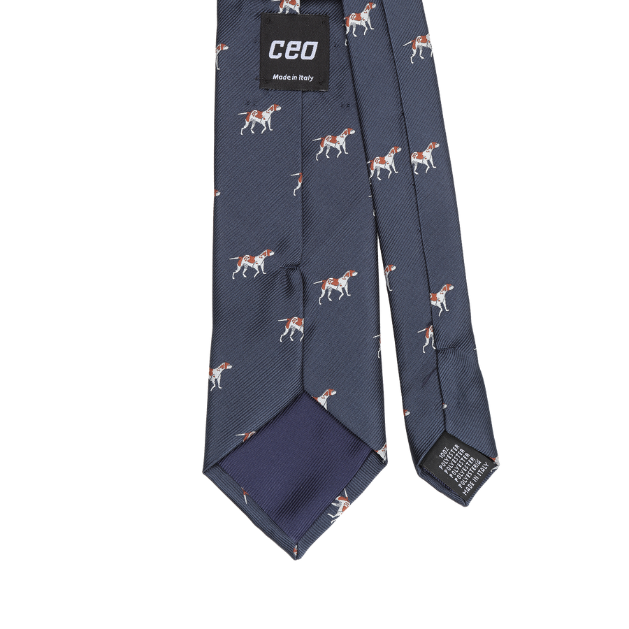 CEO Made In Italy Tie in Navy Dog - Ron Bennett Menswear  - 1