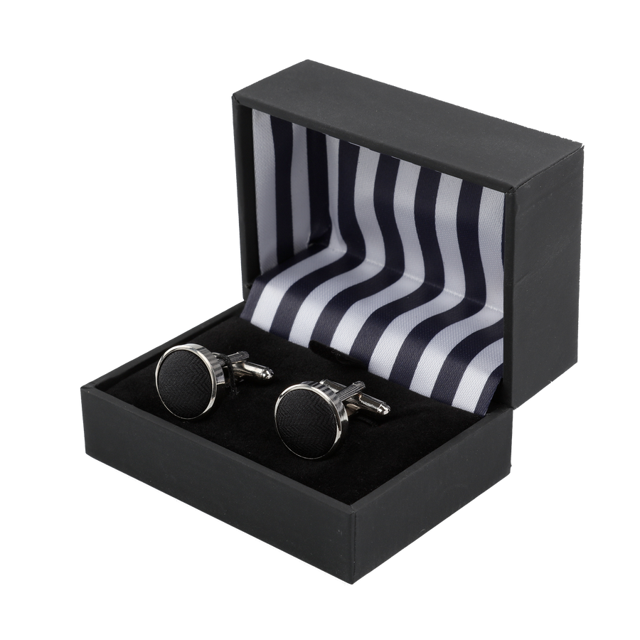 Ron Bennett Silk Cufflinks in Black - Ron Bennett Menswear  - 1