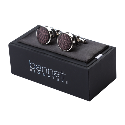 Ron Bennett Silk Cufflinks in Aubergine - Ron Bennett Menswear  - 2