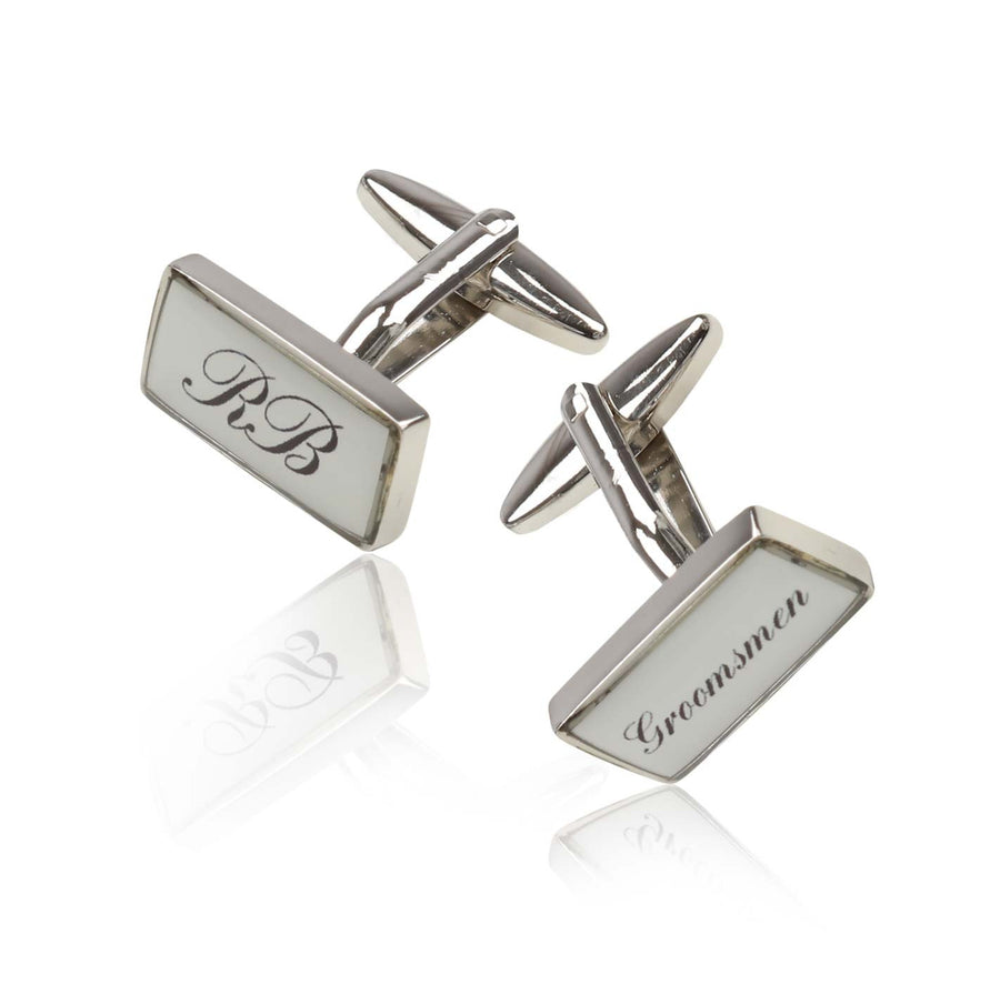Personalised Printed Rectangle Cufflinks Silver