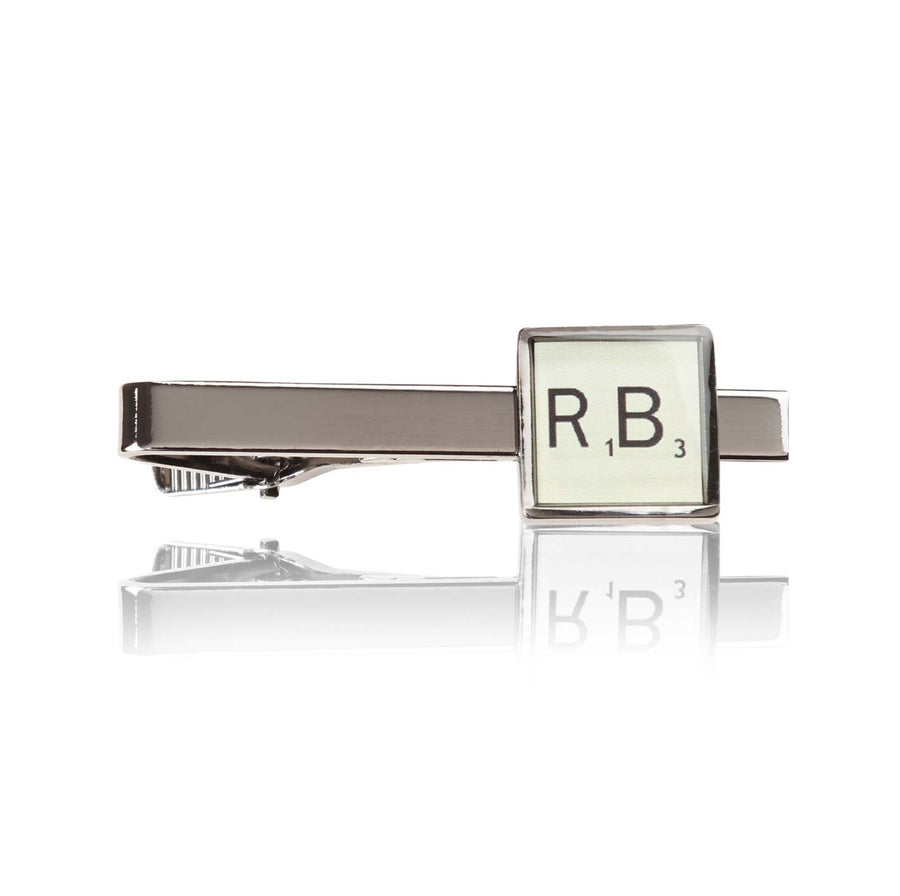 Personalised Printed Initial Tie Bar Gun Metal - Ron Bennett Menswear