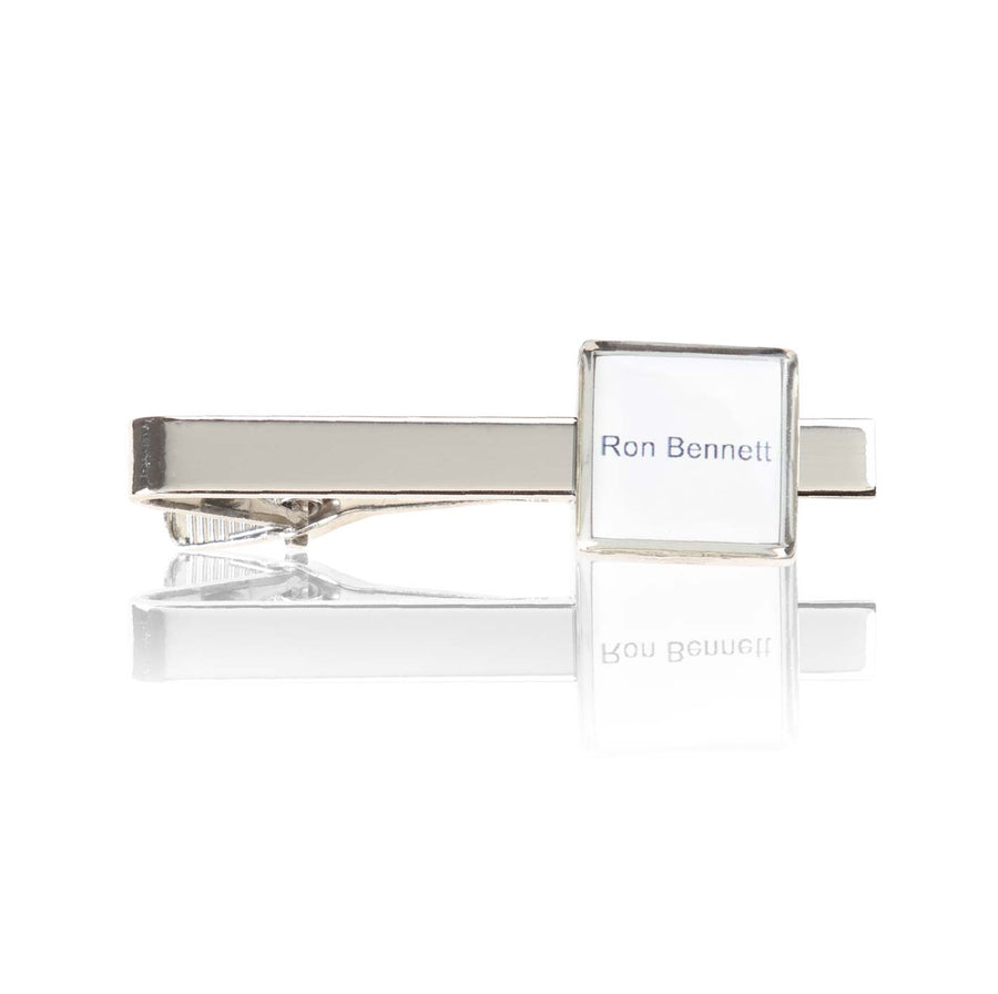Personalised Printed Name Tie Bar Silver - Ron Bennett Menswear