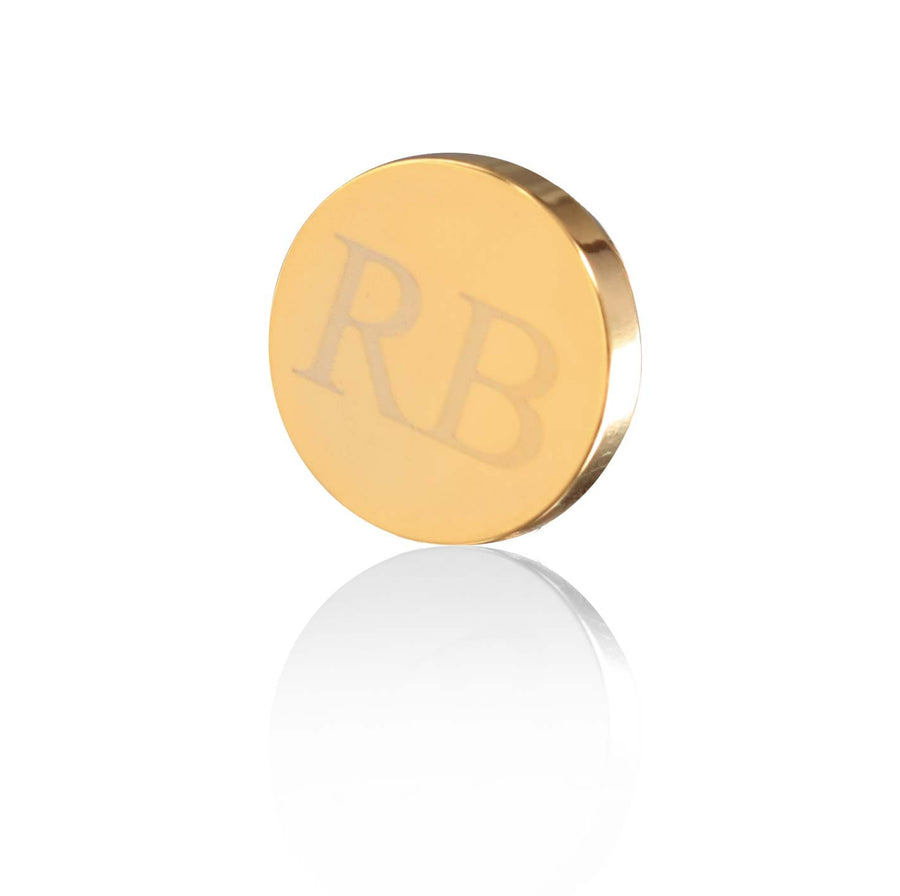 Personalised Gold Engraved Round Lapel Pin - Ron Bennett Menswear