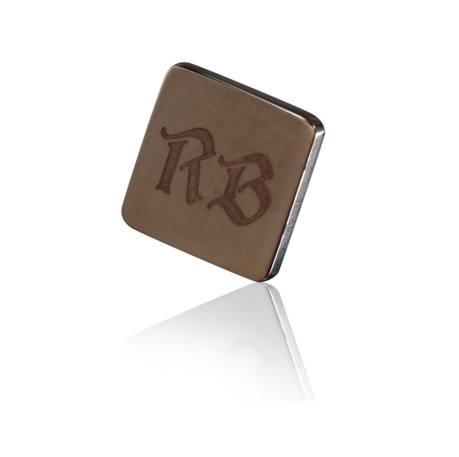Personalised Gun Metal Engraved Square Lapel Pin - Ron Bennett Menswear