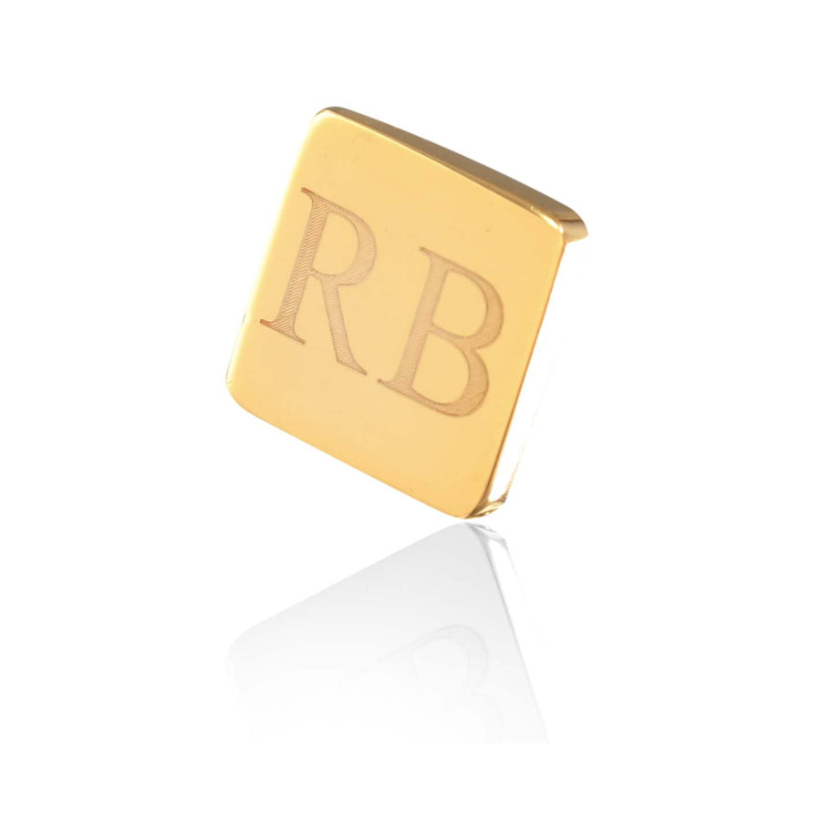 Personalised Gold Engraved Square Lapel Pin - Ron Bennett Menswear