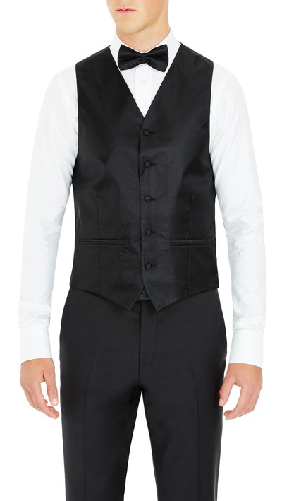 Formal Satin Vest in Black Twill - Ron Bennett Menswear  - 1