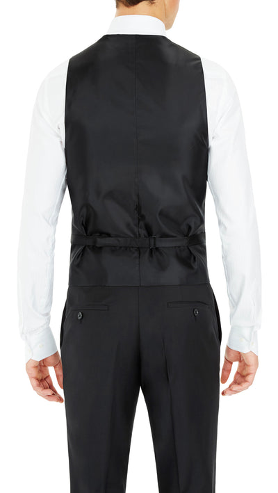Formal Satin Vest in Black Twill - Ron Bennett Menswear  - 2