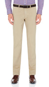 Bennett Stretch Washed European Cotton Chino in Beige - Ron Bennett Menswear  - 1
