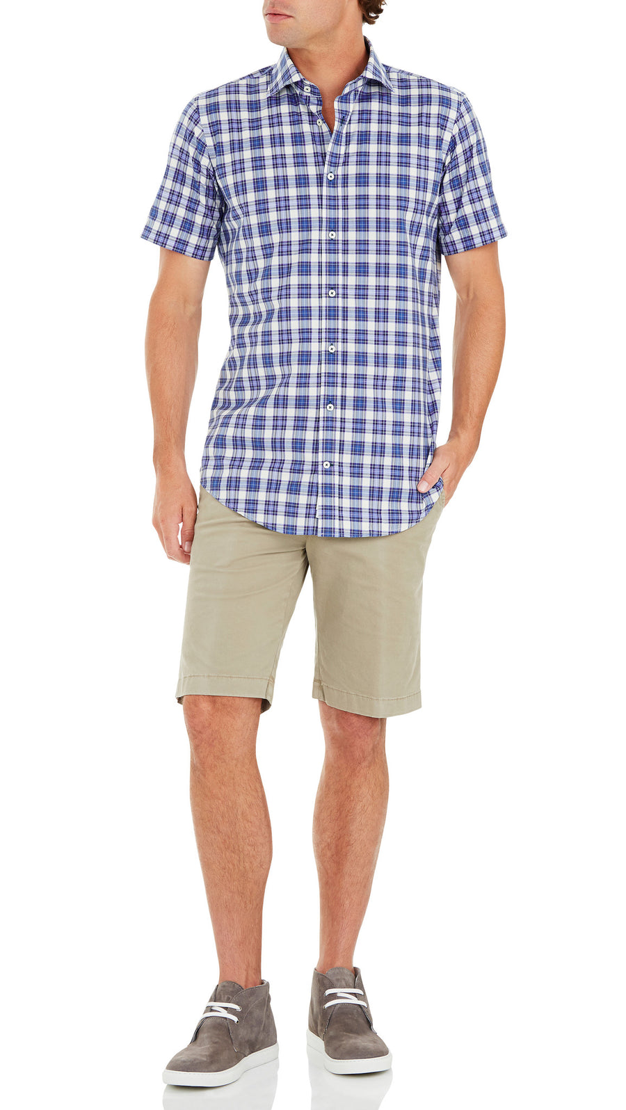 Bennett Signature Short Sleeve Shirt in Blue - Ron Bennett Menswear  - 1