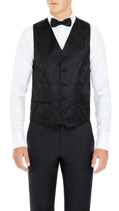 Formal Satin Vest in Black Double Paisley - Ron Bennett Menswear  - 1