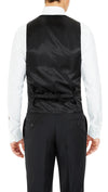 Formal Satin Vest in Black Double Paisley - Ron Bennett Menswear  - 2