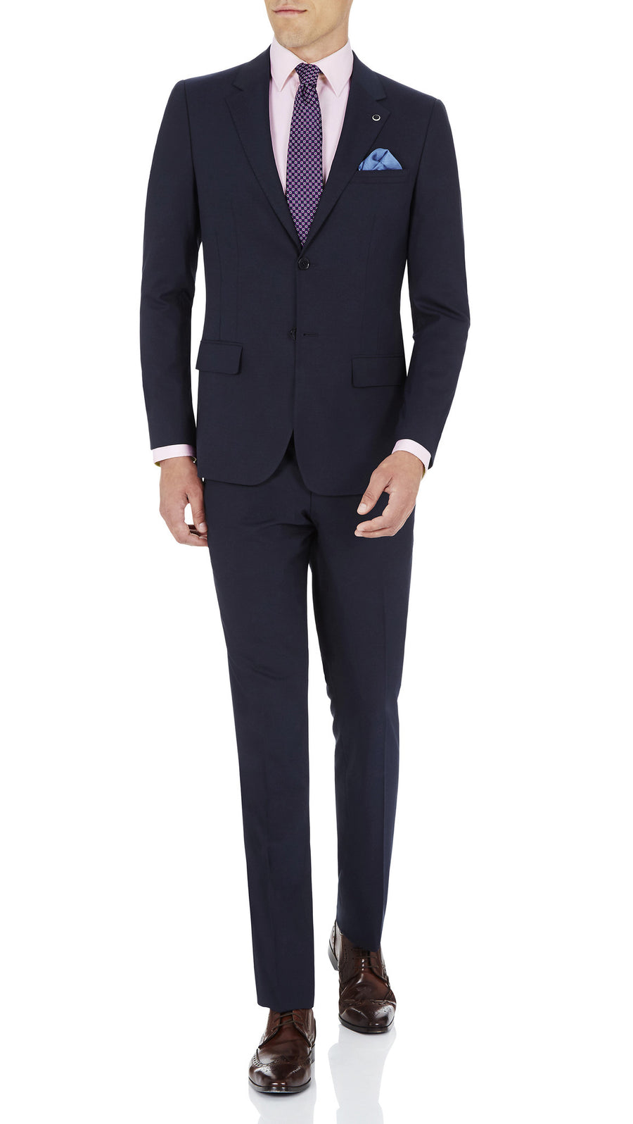 Blackjacket Skinny Fit Suit in Blue Birdseye - Ron Bennett Menswear  - 2