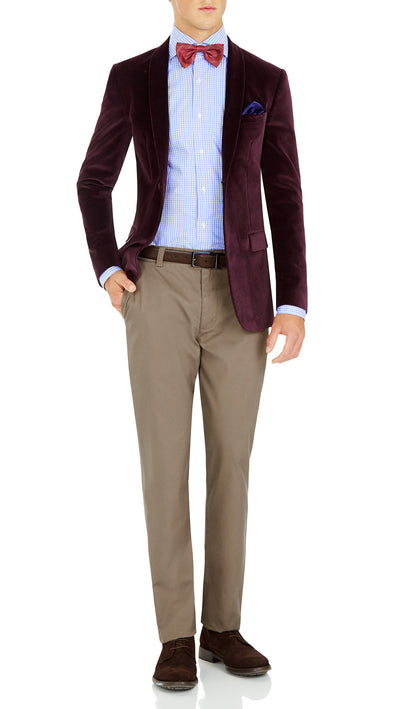 Blackjacket Italian Cotton Velvet Jacket for Formal wear in Burgundy - Ron Bennett Menswear  - 1