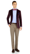 Blackjacket Italian Cotton Velvet Jacket for Formal wear in Burgundy - Ron Bennett Menswear  - 4