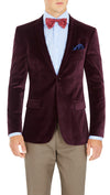 Blackjacket Italian Cotton Velvet Jacket for Formal wear in Burgundy - Ron Bennett Menswear  - 2