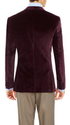 Blackjacket Italian Cotton Velvet Jacket for Formal wear in Burgundy - Ron Bennett Menswear  - 3