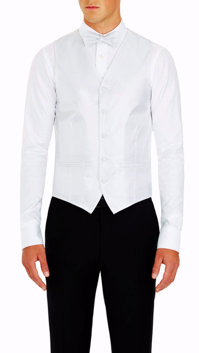 Formal Satin Vest in White Twill - Ron Bennett Menswear  - 1