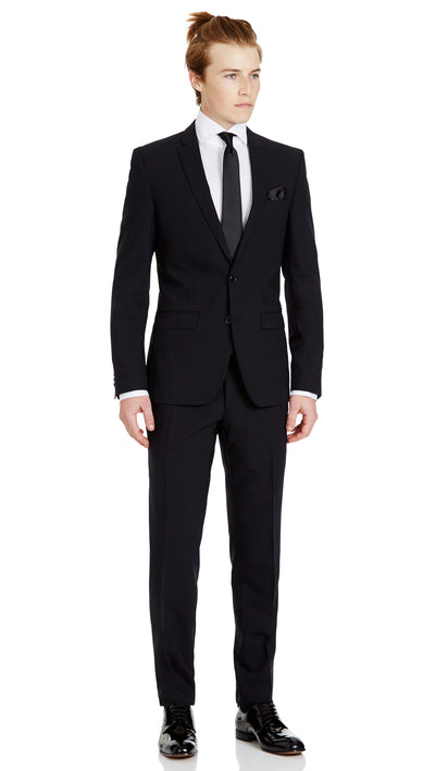 Trench Slim Fit Suit in Black - Ron Bennett Menswear  - 2