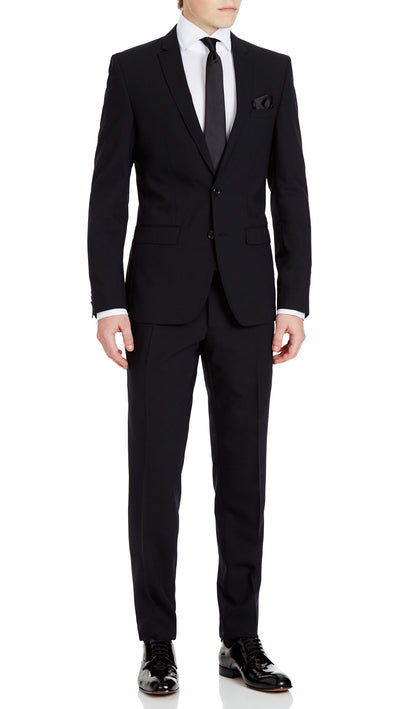 Trench Slim Fit Suit in Black - Ron Bennett Menswear  - 1