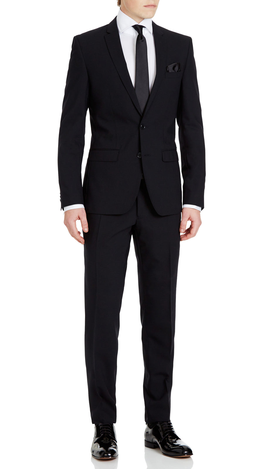 Trench Slim Fit Suit in Black - Ron Bennett Menswear  - 3