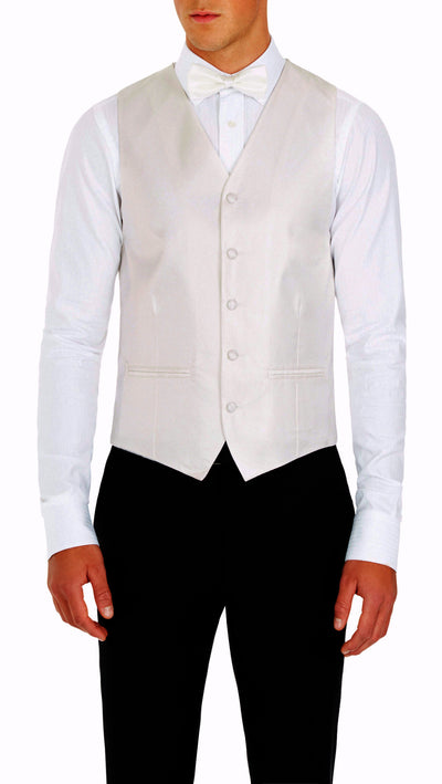Formal Satin Vest in Ivory Twill - Ron Bennett Menswear  - 1