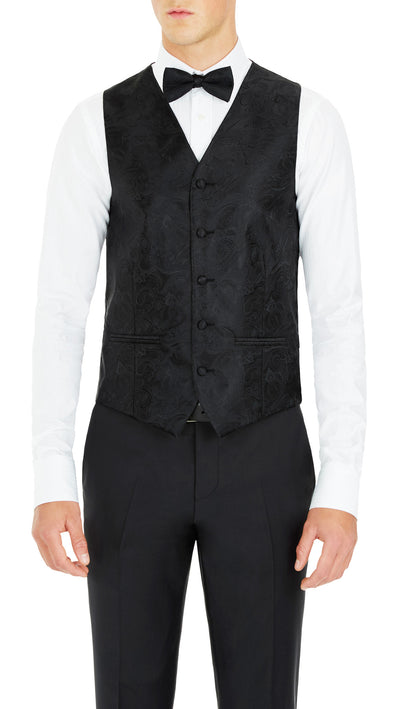 Formal Satin Vest in Black Paisley - Ron Bennett Menswear  - 1