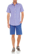 Bennett Signature Short Sleeve Shirt in Cobolt - Ron Bennett Menswear  - 2