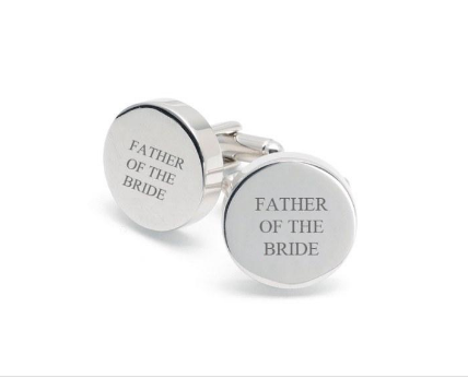 Personalised cuff links for the Father of the Bride or Groom