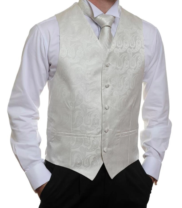 Formal Satin Vest in Ivory Paisley - Ron Bennett Menswear  - 1