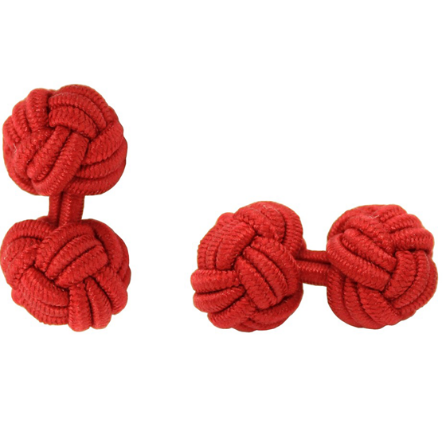 Personalised Silk Knots in Red for Groom and Groomsmen