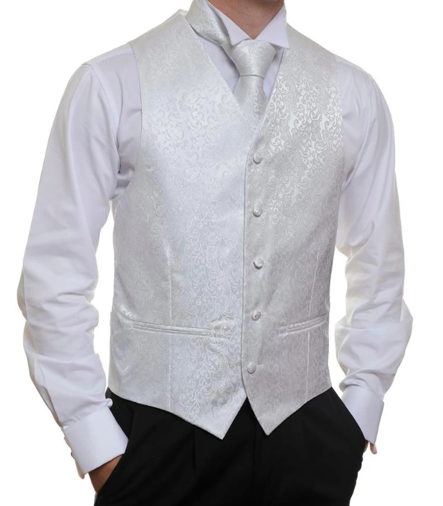 Formal Satin Vest in White Paisley - Ron Bennett Menswear  - 1
