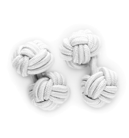 Personalised Silk Knots in White for Groom and Groomsmen