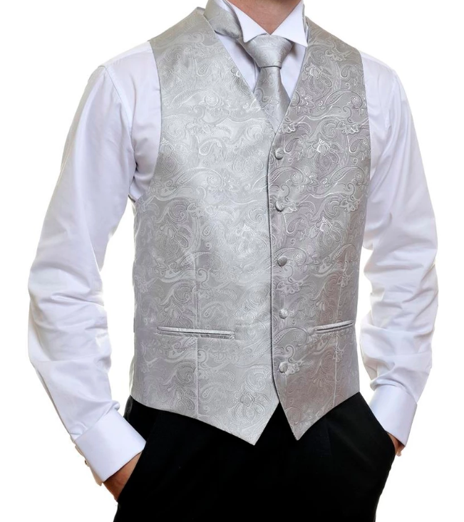 Formal Satin Vest in Silver Pailsey - Ron Bennett Menswear  - 1