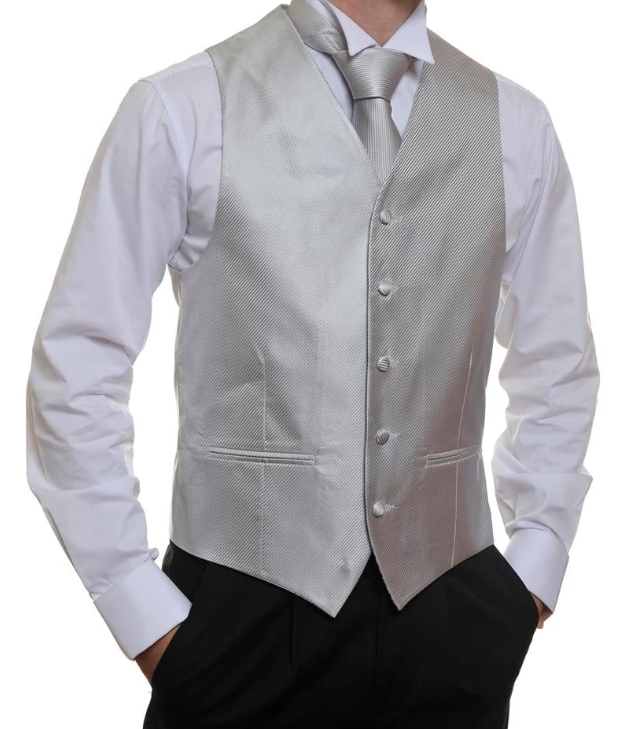 Formal Satin Vest in Silver Twill - Ron Bennett Menswear  - 1