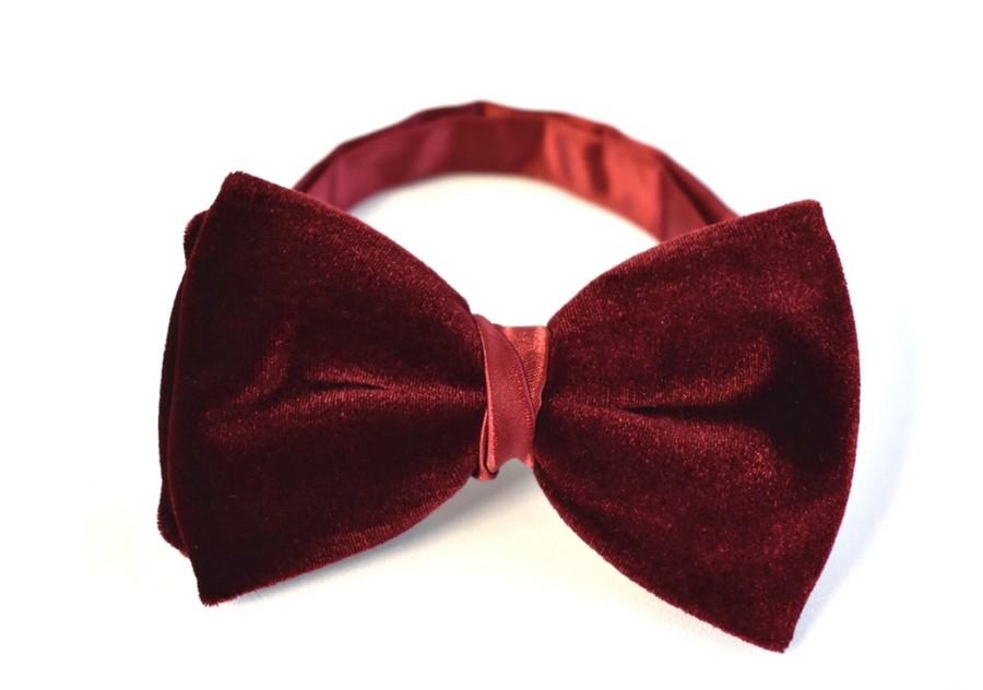 Velvet Bow Tie in Fire Red