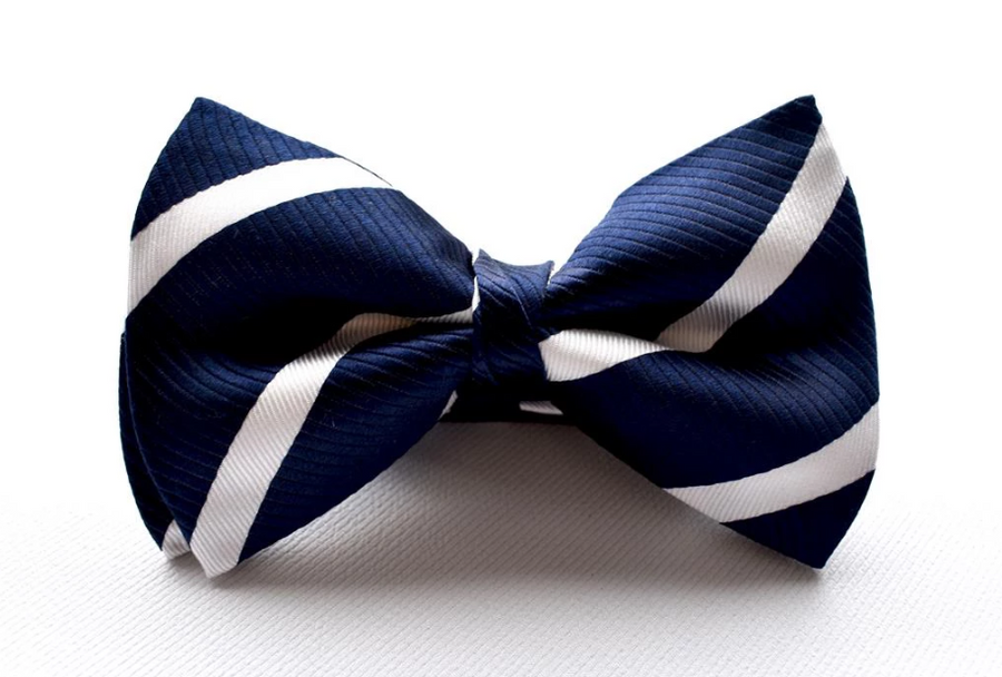 Bennett Stay Handsome Striped Bow Tie in Navy