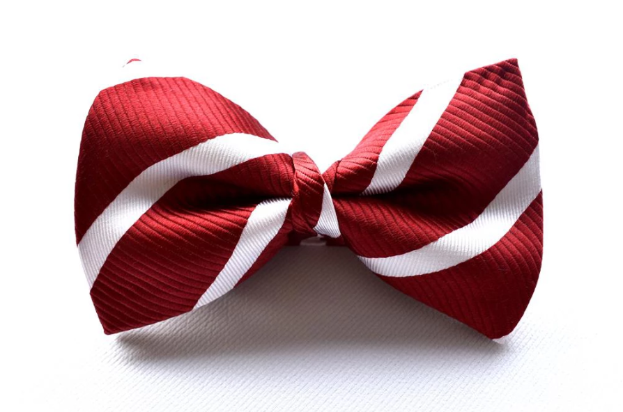 Bennett Stay Handsome Striped Bow Tie in Red