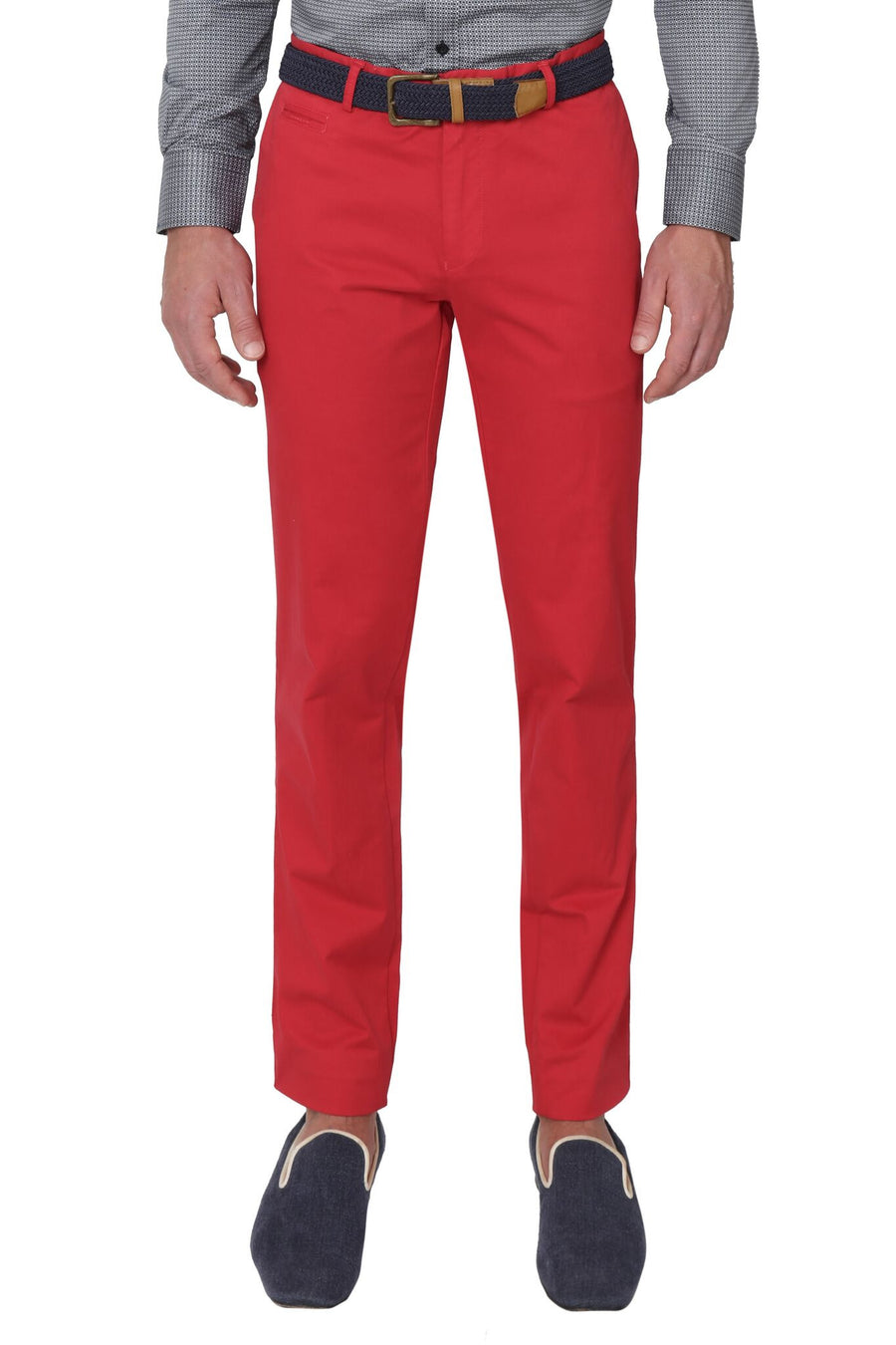 Bennett Stretch Washed European Cotton Chino in Fire Red