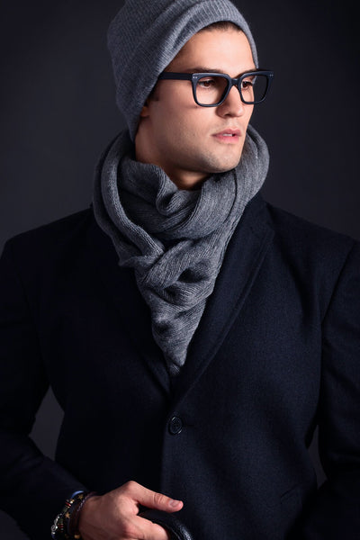 James Derby Italia Scarf in Charcoal - Ron Bennett Menswear  - 2