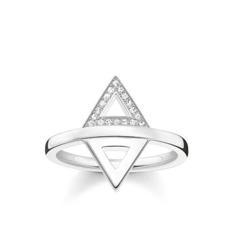 Thomas Sabo Sterling Silver Diamond Triangle Ring D_TR0019