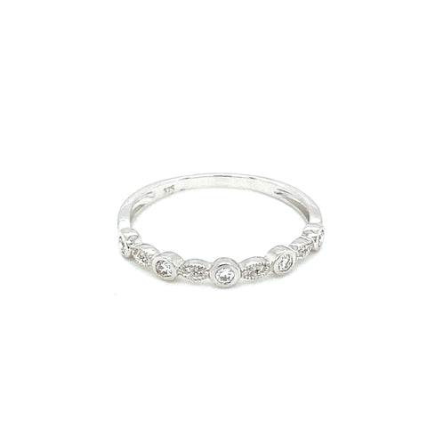 'AUDREY' 9ct White Gold Milgrain Bezel Diamond Ring LJ9379