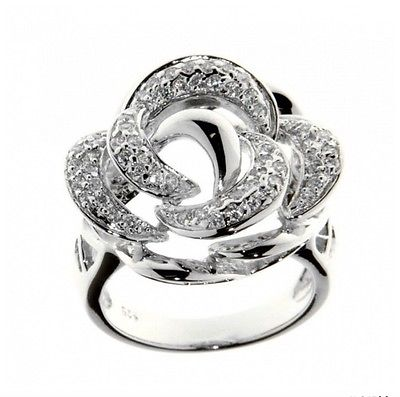 Ellani Sterling Silver CZ Rose Flower Ring - Lyncris Jewellers