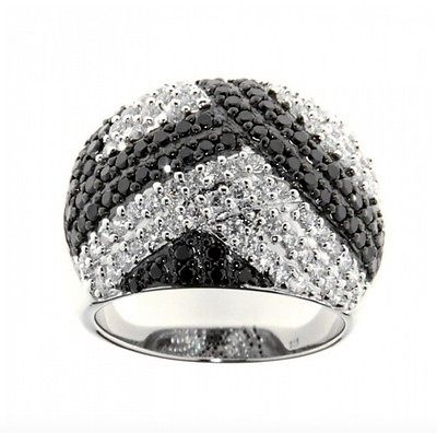 Ellani Sterling Silver CZ Abstract Dome Ring - Lyncris Jewellers