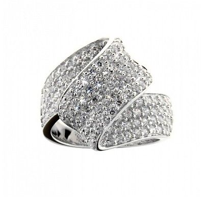 Ellani Sterling Silver CZ Wave Ring - Lyncris Jewellers