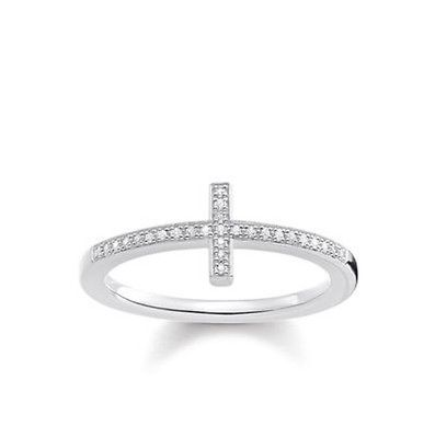 Thomas Sabo Sterling Silver Diamond Cross Minimalist Ring D_TR0028 - Lyncris Jewellers