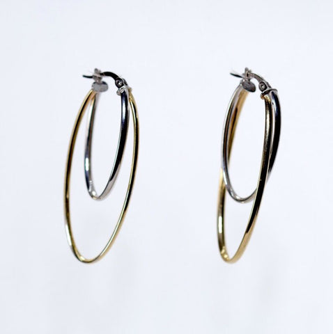 9ct Yellow & White Gold Long Hoop Earrings LJ9033