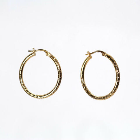 9ct Yellow Gold Patterned Hoop Earrings LJ7688