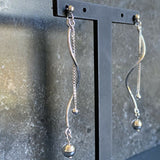 Sterling Silver Twisted Bar With Ball & Chain Drop Earrings LH8924