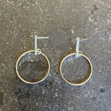 Sterling Silver Bar & Circle Drop Stud Earrings LJ8937